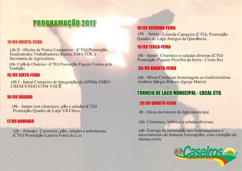SEMANA FARROUPILHA CASEIROS - 2017